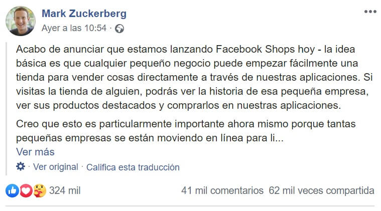 Tiendas en Facebook post de Mark Zuckerberg